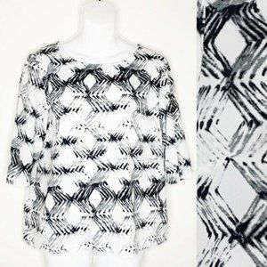 DKNYC Geometric Diamond Print Boxy Career Blouse S